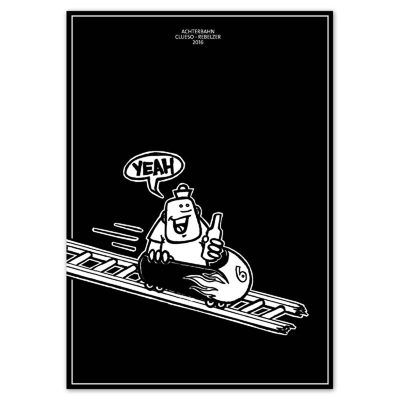 Siebdruck Poter Rebelzer - Achterbahn Poster