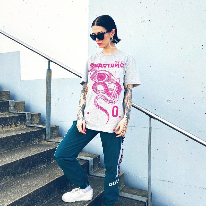 Catastrophy Pink T-Shirt Grey