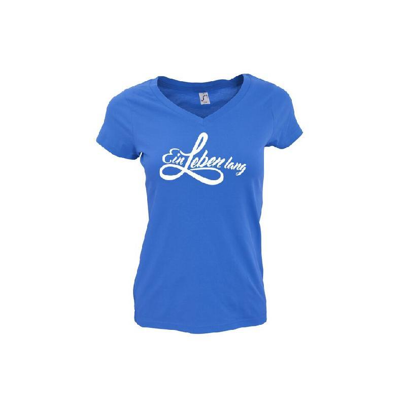 Ein Leben lang Damen T-Shirt Girlie Royalblau