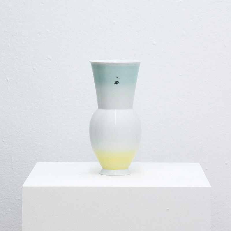 Gradient Vase (Mint to Yellow) - porcelain vase Vase