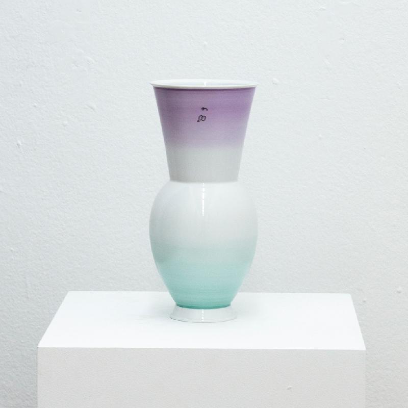Gradient Vase (Purple to Mint) - porcelain vase Vase